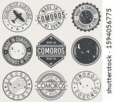 comoros set of stamps. travel... | Shutterstock .eps vector #1594056775