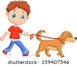 Stock vector cute boy walking with dog 159407546