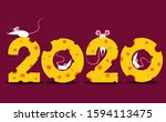 symbol of 2020. four mice. | Shutterstock .eps vector #1594113475