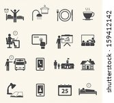 man daily routine icons | Shutterstock .eps vector #159412142