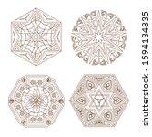 set of various indian manadala... | Shutterstock .eps vector #1594134835