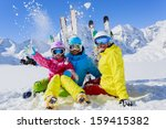 skiing  winter  snow   skiers ... | Shutterstock . vector #159415382