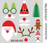 christmas party photo booth... | Shutterstock .eps vector #1594208788