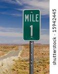 Mile 1 One Marker On Desert...