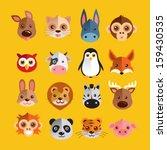 funny animal heads vector... | Shutterstock .eps vector #159430535