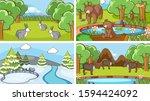 background scenes of animals in ... | Shutterstock .eps vector #1594424092