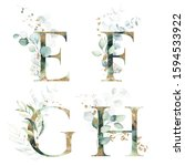 Gold Green Floral Alphabet Set...