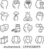 psychology icons set vector... | Shutterstock .eps vector #1594538095