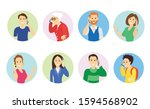 people speaking on the phone.... | Shutterstock .eps vector #1594568902
