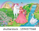 beautiful princess with white... | Shutterstock .eps vector #1594577068