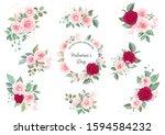 set of floral arrangements and... | Shutterstock .eps vector #1594584232