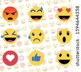 emoji reactions. flat design.... | Shutterstock .eps vector #1594644358