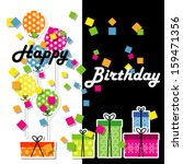birthday gifts and decoration... | Shutterstock .eps vector #159471356
