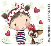 cute cartoon puppy and a girl... | Shutterstock . vector #1594737655