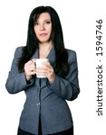 serious business woman on white ...   Shutterstock . vector #1594746