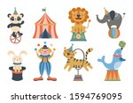 cute circus animals and clown... | Shutterstock .eps vector #1594769095