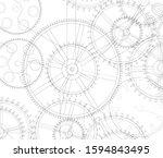 gears mechanism linear vector... | Shutterstock .eps vector #1594843495