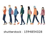 silhouettes of men and women... | Shutterstock .eps vector #1594854328