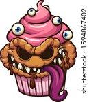 cupcake monster with evil smile ... | Shutterstock .eps vector #1594867402