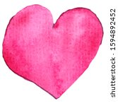 pink isolated heart. hand drawn ... | Shutterstock . vector #1594892452