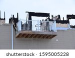 Small photo of Fire damage to apartment building.