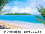 blue water. wide brush painting.... | Shutterstock . vector #1595021155