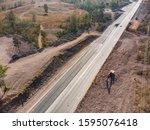 aerial shot of excavator... | Shutterstock . vector #1595076418