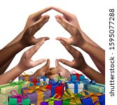 Small photo of Community giving support as a group of diverse people gathering together as a seasonal symbol for togetherness and friendship or generosity with 3D illustration elements.