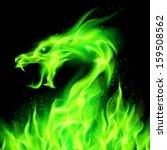 Fire Head Of Dragon In Green O...