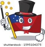 mascot of flag samoa scroll... | Shutterstock .eps vector #1595104375
