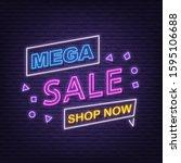mega sale neon signboard... | Shutterstock .eps vector #1595106688