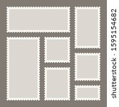 blank postage stamps collection.... | Shutterstock .eps vector #1595154682