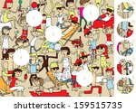 match pieces  visual game.... | Shutterstock .eps vector #159515735