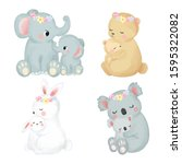 mommy and baby animals in set | Shutterstock .eps vector #1595322082