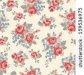 vintage roses   seamless vector ... | Shutterstock .eps vector #159536975