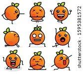 set of cute orange vector... | Shutterstock .eps vector #1595381572
