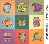 halloween vector icons set.... | Shutterstock .eps vector #159540968