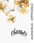 merry christmas text on a white ... | Shutterstock . vector #1595410612