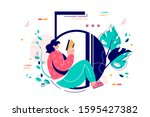 woman reading book sitting in...   Shutterstock .eps vector #1595427382