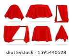 red silk cover. realistic... | Shutterstock .eps vector #1595440528