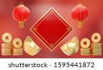 red chinese hanging lanterns... | Shutterstock . vector #1595441872