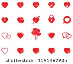 vector red hearts icons set ...