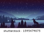 wolf in mountains landscape...   Shutterstock .eps vector #1595479075