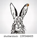 adorable hand drawn rabbit with ...   Shutterstock .eps vector #159548405