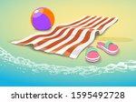 summer sea towel background.... | Shutterstock .eps vector #1595492728