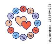 love horoscope color line icon. ...
