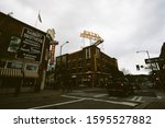 Small photo of Flagstaff, Arizona - May 24 2019: Babbitt Bros store and the Hotel Monte Vista in downtown Flagstaff.