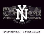 new york  brooklyn t shirt... | Shutterstock .eps vector #1595533135