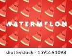 watermelon background image ... | Shutterstock . vector #1595591098
