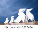 white paper hens on a wooden... | Shutterstock . vector #1595636